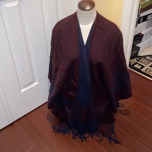 Gorgeous burgundy and blue poncho from AE